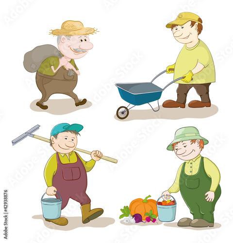 Foto op Canvas Boerderij Cartoon: gardeners work
