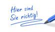 Stift & Schrift-Serie: Hier sind Sie richtig! blau