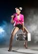 Slender girl singer