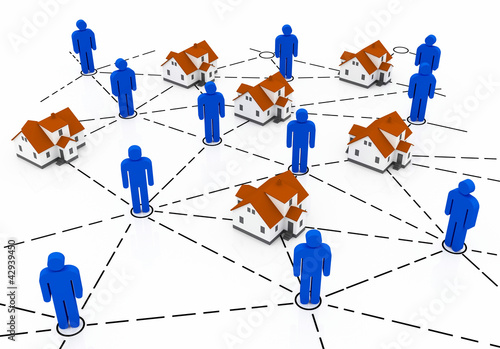 Real Estate Market, blue and red house network