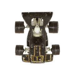 Old toy car (V8 racer, 1970) isolated on white