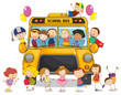 school bus and kids