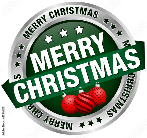 "Button Banner ""Merry Christmas"" Christmas Balls Green/Silver"