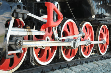 Iron wheels of the locomotive