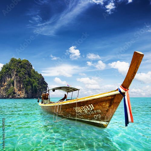 Thai sea with tail boat and beautiful sea