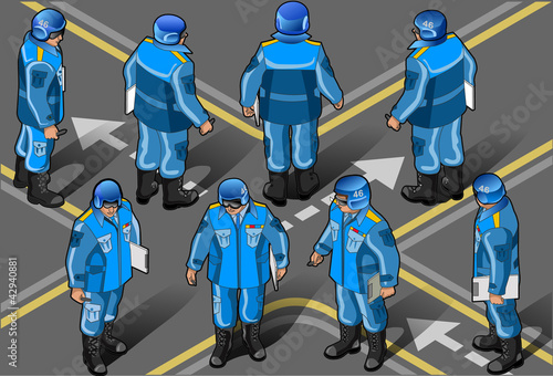 isometric set of military peacekeepers in eight posi