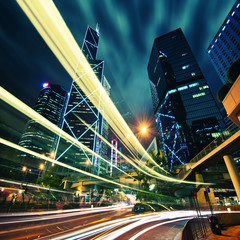 Hong Kong City center at night with light trails