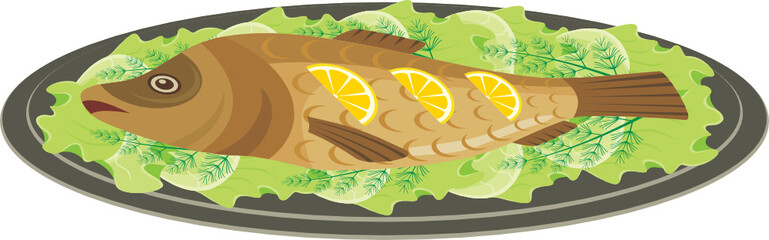 Dish with the baked fish. vector