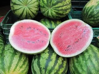 Sandías en el mercado. Watermelons.