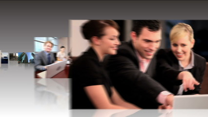 Multiple Digital Tablet Display Successful City Business People