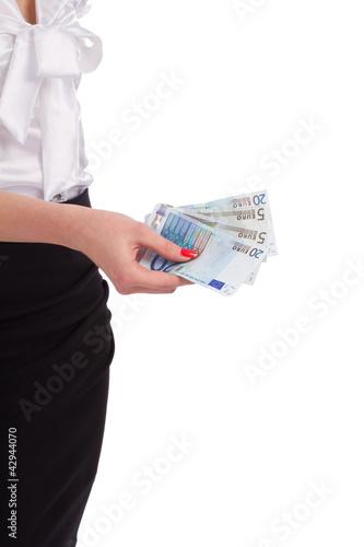 woman with euro money in hands