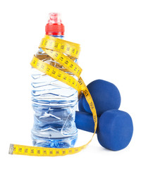Two dumbells, water in bottle