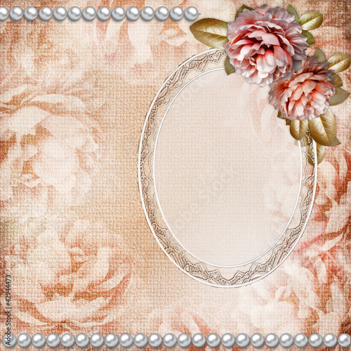 Grunge Beautiful Roses Background  With Oval Frame ( 1 of set)