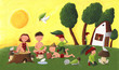 Cute kids - dwarfs in the summer