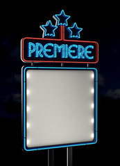 Neon Premiere sign. Empty space with clipping path
