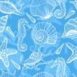Sea hand drawn seamless pattern - 42945080