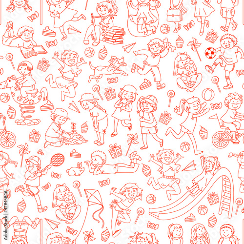 Sticker seamless pattern with doodles of children