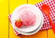 Country meal of strawberry icecream