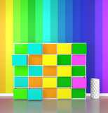 colorful cabinet with rainbow colors wall