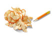 pencil shavings and sharpener