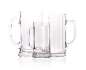 group of different Empty beer mugs isolated
