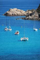Boats around Cap Taillat near St. tropez bay, Southern France