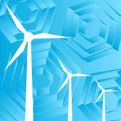 Clean energy concept with wind generators vector