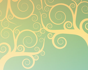 Vintage abstract tree swirl vector background