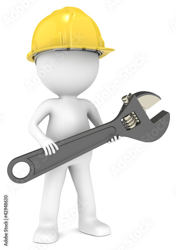 3D little human character The Builder with a Wrench.