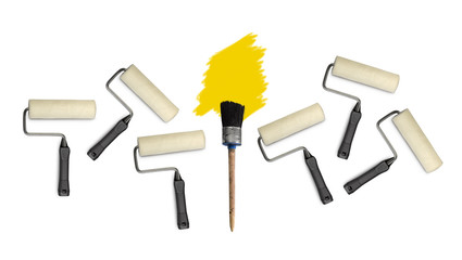 paint roller  an d brushes isolated