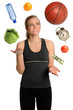 Woman Juggling Healthy Lifestyle