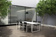 Outdoor minimal design home, summer lounge table yard
