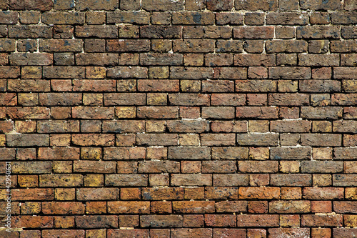 Old dirty brick wall background front view