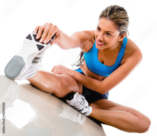 Woman stretching leg