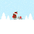 Rudolph Pulling Sleigh With Gift Blue