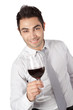 Businessman Holding Red Wine Glass