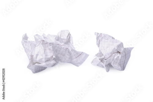 Crumpled paper isolated a on white background