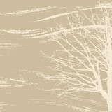 tree silhouette on brown background