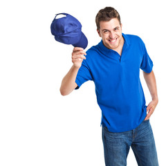 Man taking off his hat as greeting