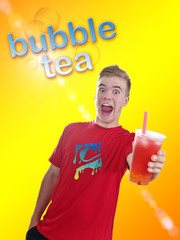 Teenager mit Bubble Tea