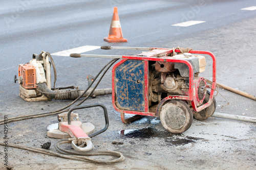 Work zone with special equipment during roadworks