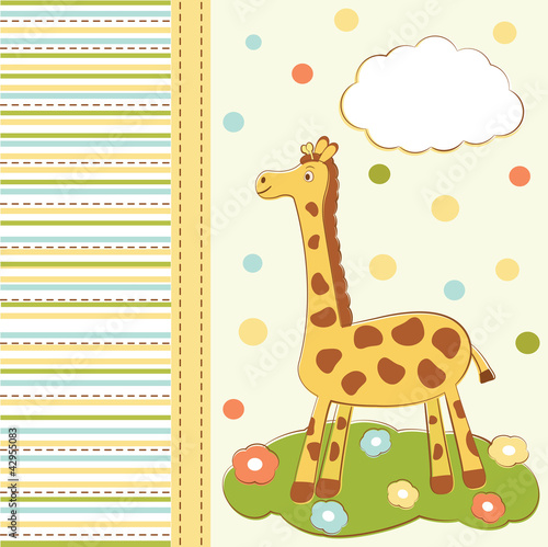 kid greeting card with cute giraffe