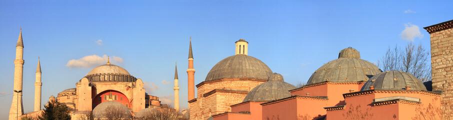Panoramic view of Hagia Sophia and Haseki Hamami (Turkish Bath)