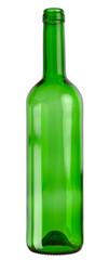 Empty wine glass bottle isolated on white