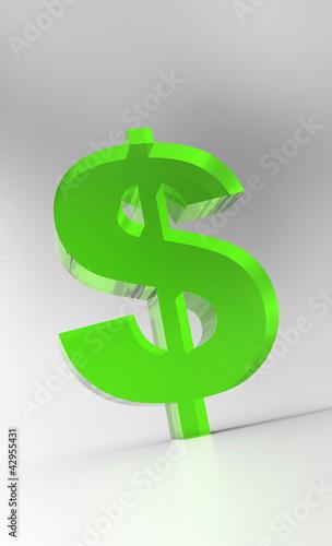 Big Dollar Symbol - Green Glas