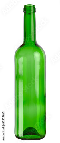 Empty wine glass bottle isolated on white