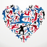Olympics Sports silhouettes heart