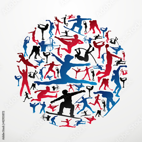 Sports silhouettes circle
