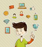 Fototapety Go social teenager shows netwoks icons