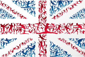 Sports silhouettes UK flag